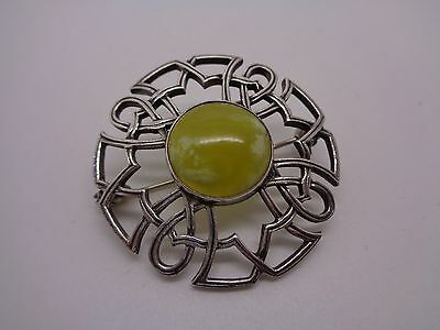 Vintage Scottish Silver Connemara Marble Kilt Brooch Part Stamp To Rim