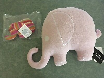 Peter Morrissey Pink Baby Pillow and Urban Baby Elephant Rattle - both New