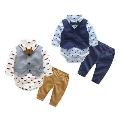 3pcs Toddler Baby Boys Outfit Waistcoat+Romper Tops+Pants Clothes Set Suit 6-24M