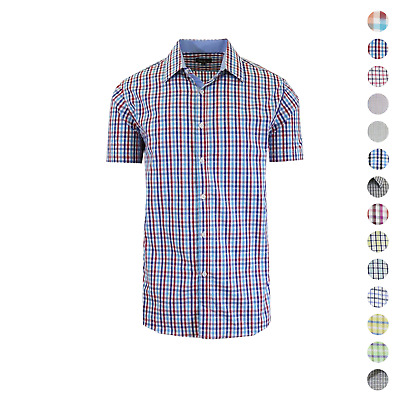 Galaxy By Harvic Mens Plaid & Checkered Short Sleeve Button Down Slim Fit Shirt
