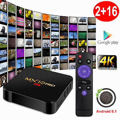 2019 MX10PRO Android 8.1 Oreo 2+16G Smart TV BOX Quad Core WIFI 4K Media Movies