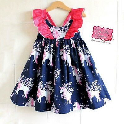 Kid Baby Girls Floral Unicorn Cotton Party Pageant Dress Sundress Clothes CANIS
