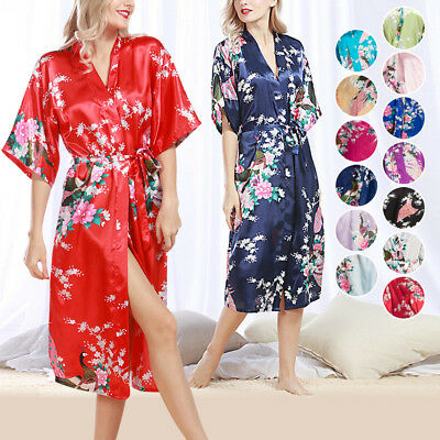 Women's Long Satin Kimono Robe Floral Printed Dressing Gown Bathrobe Nightwear