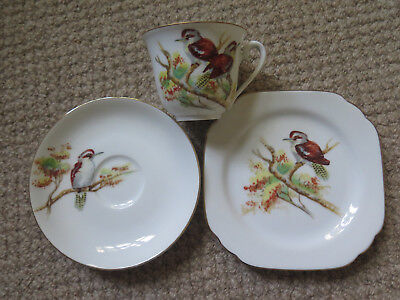 RARE NORITAKE CHINA KOOKABURRA CUP SAUCER PLATE SET c1950s MADE in JAPAN