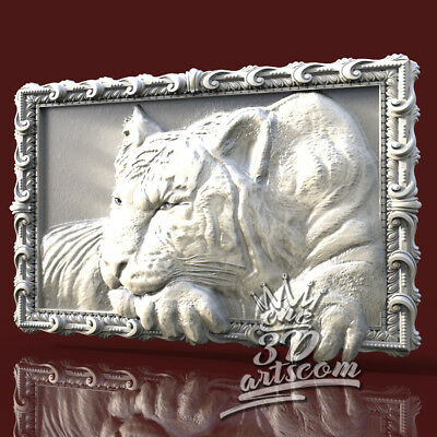 3D Model STL for CNC Router Artcam Aspire Tiger Frame Decor Panel Cut3D Vcarve