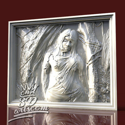 3D Model STL for CNC Router Artcam Aspire Fallen Angel Girl Panel Cut3D Vcarve