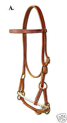Western harness leather single rope side pull USA - custom natural cowboy H4000
