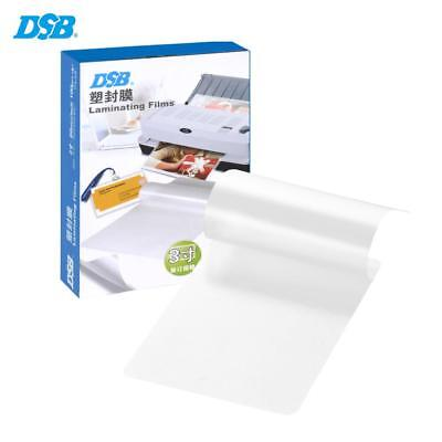 "DSB 3"" Photo Paper Laminating Film Clear Sheet 80mic 100 Sheets Office H8P8"