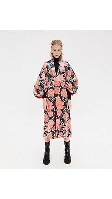 Zara Pink Floral Printed Velvet Midi Dress with Puffy Sleeves Size S