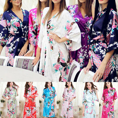 Plus Size Womens Floral Satin Dressing Gown Wedding Bride Bridesmaid Kimono Robe