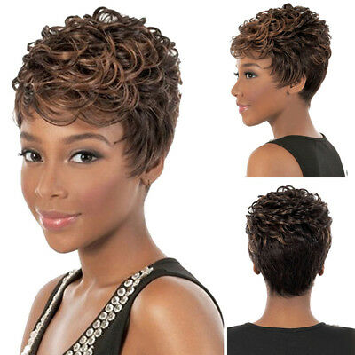 FT- Cool Synthetic Pixie Cut Wig Short Curly Party Club Hair Wig for Women Novel