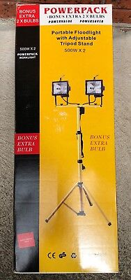 PowerPack Work Light, Portable Floodlight with Adjustable Tripod Stand, 500W x2