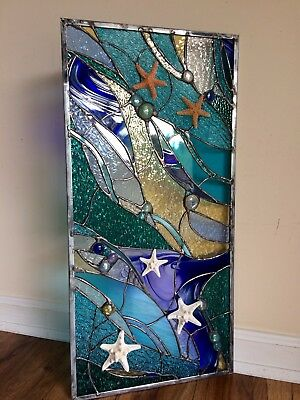💥Stained Glass Starfish Transom Window  Ocean Panel Nautical OOAK