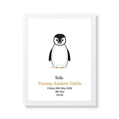 Personalised New Birth Baby Print Boy Girl Christening Wall Art Gift Penguin