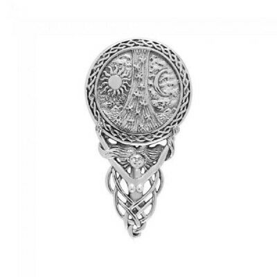 Goddess Celtic Sun Moon and Stars sterling silver pagan Pendant by Peter Stone