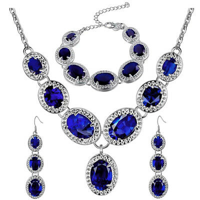 Silver Plated Dark Blue Crystal Drop Necklace, Bracelet & Earrings Set