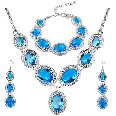 Silver Plated Lake Blue Crystal Drop Necklace, Bracelet & Earrings Set