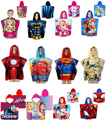 Boys Girls Kids Novelty Character Hooded Towel Poncho Swim Beach Bath Official