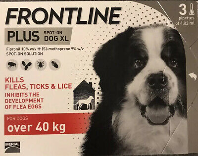 Frontline Plus (3 Pack / 3 Months) Red For XL Dogs 89-132lbs (40-60kg) New Fresh