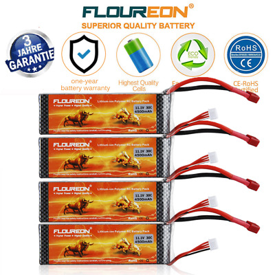 4PCS 3S 11.1V 4500mAh 30C LiPo RC Battery Deans RC Car Airplane Helicopter Hobby