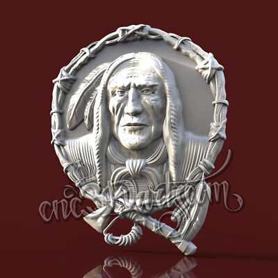 3D Model STL for CNC Router Artcam Aspire Redhead Indians New Panel Cut3D Vcarve