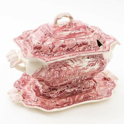 Antique Mason's China Vista Pink Ironstone Soup Tureen with Lid & Serving Plate