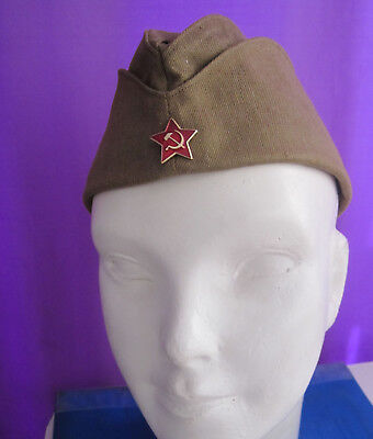 Soviet Russian Army Pilotka Garrison Cap Hat USSR Red Star Badge 58 Large New!