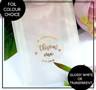 Throw Me Stickers Confetti Wedding Favour Rose Gold Foil -  Personalised Labels