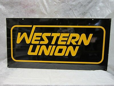 Western Union Tin Metal Double Sided Sign Logo Advertising Telegram Cable Agency