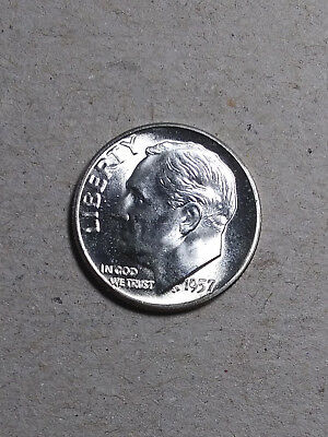 1957 P Roosevelt Dime GEM BU Uncirculated 90% Silver US Coin  From Original Roll