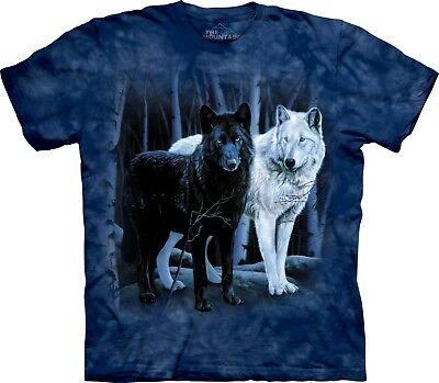 Black and White Wolves Animal T Shirt Adult Unisex Mountain