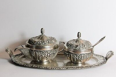 800 solid silver tea set Djokja Yogya tray tea pot sugar bowl Indonesian  C.1940