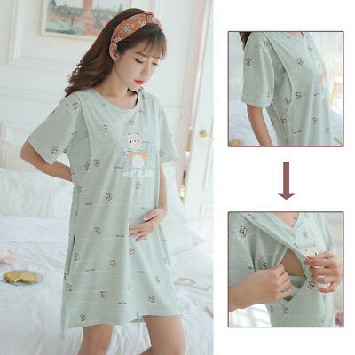 ALS_ Pregnant Maternity Women Breastfeeding Cartoon Summer Dress Sleepwear Home