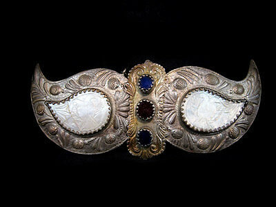 EXTREMELY RARE ANTIQUE MOTHER of PEARL SILVER BUCKLE CLASP SET+++GORGEOUS+++