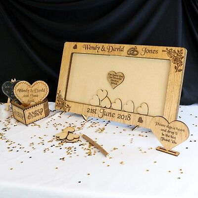 Wedding Guest Book Personalised Hearts Frame Family Wooden Drop Box Oak Nikah