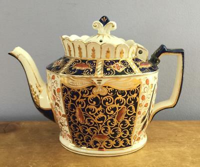 Antique Early 19th Cent Imari Teapot Hinged Lid Gold Trim Hand Painted 850P