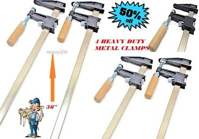 4 Heavy Duty Woodworking Carpenter Cabinets Steel Bar F Clamp Quick Release 36''