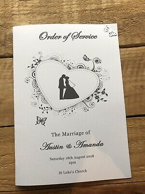 50 Personalised Wedding Order of Service / Order of DayButterfly