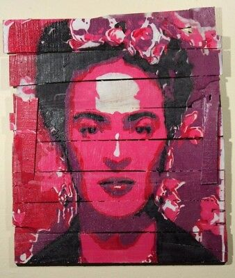 Frida Kahlo Hanging Wood Spray Painting Mexican Folk Art Home Decor Large Red 1