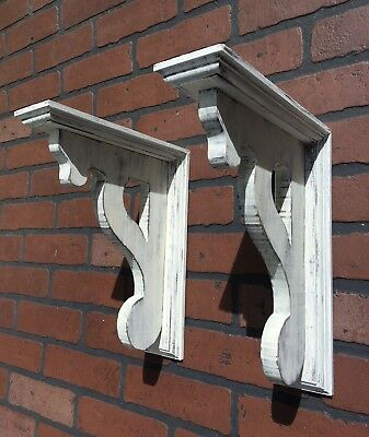 Pair Wood Corbels Brackets Shelf Rustic Victorian Antique Look