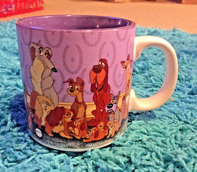 Vintage Walt Disney LADY AND THE TRAMP Dog Ceramic Coffee Mug Cup Collectible