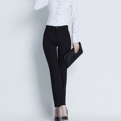 Womens Black Tailored Formal Suit Straight Slim Trousers Ideal for Work Office