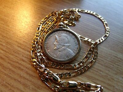 """1962 PANAMA .900 SILVER COIN PENDANT w/ 18K  24"""" GOLD FILLED 3&2 LINK CHAIN."""