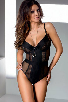 Sexy Women's Lace Mesh Panel Teddy One Piece Body Suit Black Lingerie Nightwear