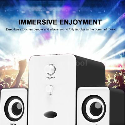 USB Power Stereo Bass Speaker System fr Computer Desktop Laptop Notebook PC T2G9