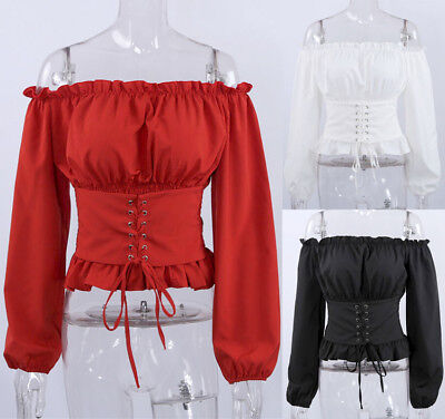 Fashion Women Long Sleeve Loose Blouse Casual T Shirt Summer Lace up Tops Corset