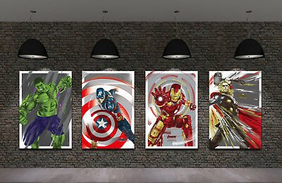 Framed HD Print Oil Painting Home Decor Art on Canvas Movie The Avengers 4PCS