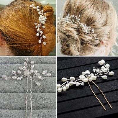 Wedding Bridal Crystal Bling Pearl Flower Hair Pins Clips Bridesmaid Prom Party