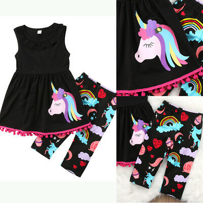 UKSTOCK Unicorn Kids Baby Girls Outfits Clothes T-shirt Tops Dress+Shorts Pants