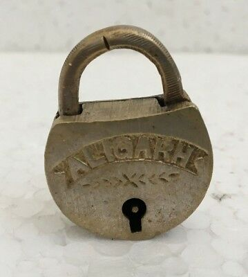 old antique vintage solid brass padlock lock with key small miniature ALIGARH